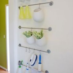 This is an option that we could use to clear off counters, instead of a pot rack, or for the kitchen garden.