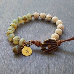 Hand knotted gem bead bracelet - Czech glass bead jewellery - Boho Multi layer bracelet with hand stamped brass charm - personalised on Etsy, $41.77