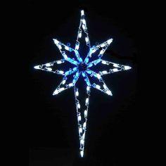 Led Bethlehem Star With Blue Acrylic Center Blue Lights