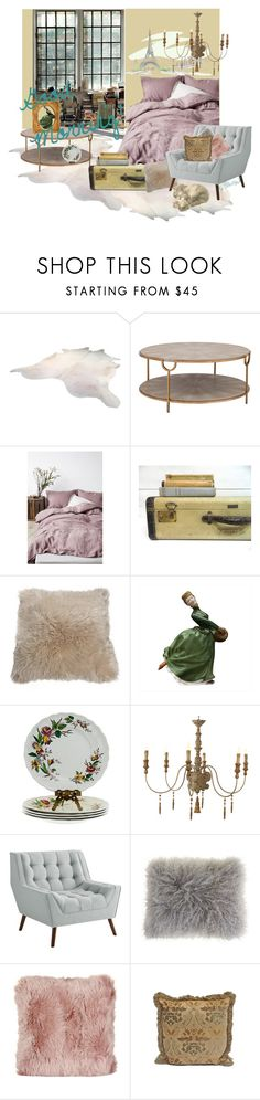 """Good Morning!"" by plumsandhoneyvintage ❤ liked on Polyvore featuring interior, interiors, interior design, home, home decor, interior decorating, Handle, Overland Sheepskin Co., Royal Doulton and Pier 1 Imports"