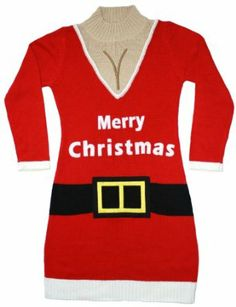 Ugly Christmas Sweater - Santa Suit Naughty Sweater Dress w/Cleavage by Skedouche