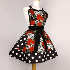 Tattoo Art Rockabilly Skulls and Roses Polka Dots Apron sold by Vintage Galeria. Shop more products from Vintage Galeria on Storenvy, the home of independent small businesses all over the world. Polka Dot Fabric, Polka Dots, Skulls And Roses, Sewing Aprons, Aprons Vintage, Gothic Outfits, Cute Skirts, Rockabilly, Trending Outfits