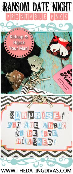 Date Night Printable Pack Love this Kidnap and Ransom date idea! My hubby is going to be so surprised! Love this Kidnap and Ransom date idea! My hubby is going to be so surprised!