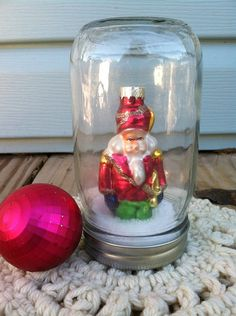 Repurposed  Upcycled  Shabby BOHO Farmhouse  by TimelessNchic, $14.95 #snowglobe #upcycle #repurpose #santa #pink #jar #boho #shabby