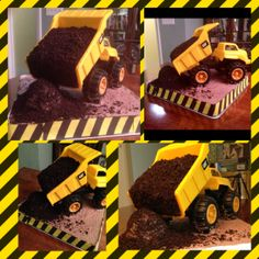 ideas simple dump truck cake for 2019 Dump Truck Party, Dump Truck Cakes, Truck Birthday Cakes, Monster Truck Birthday, Baby Boy First Birthday, Construction Birthday, Party Cakes, Homemade Gifts, Amazing Cakes