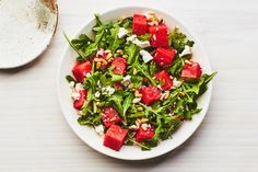 Watermelon, Arugula, Pine Nut Salad / Photo by Chelsea Kyle, Food Styling by Olivia Mack Anderson Savory Salads, Easy Salads, Fruit Salads, Pine Nut Salad Recipe, Best Summer Salads, Summer Food, Summer Treats, Summer Recipes, Summer Bbq