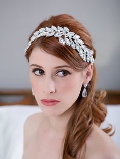 Crystal Leaves Bridal Headpiece, Rhinestone Headband, Crystal Bridal Hair Comb, Wedding Headband, Bridal Hair Accessories - HAYLEY DESIGN