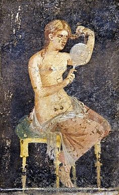 WOMAN COMBING HER HAIR IN MIRROR, VILLA ARIADNE, POMPEII