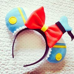 Details over Disney Donal Duck Inspired Mouse Ears Headband Minnie Mickey - Minnie ears - Disney Disney Diy, Diy Disney Ears, Disney Bows, Disney Crafts, Disney Ears Headband, Disney Headbands, Ear Headbands, Mickey Mouse Headband, Disney Minnie Mouse Ears