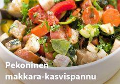 Pekoninen makkara-kasvispannu, Resepti: Hookoo #kauppahalli24 #resepti #pekoni #makkarapannu #hookoo Kung Pao Chicken, Hummus, Potato Salad, Potatoes, Ethnic Recipes, Food, Potato, Essen, Meals