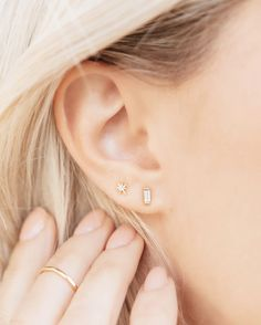 The Baguette stud layered with the Little Dipper star stud. Perfection!  $45 for each pair.   SHOP www.katiedeanjewelry.com