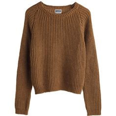 Mtwtfss Weekday Lu Knit Sweater Brown ❤ liked on Polyvore featuring tops, sweaters, shirts, jumpers, women, knit jumper, knit sweater, brown knit sweater, brown shirts and knit top