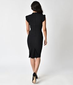 Unique Vintage 1960s Style Black Cap Sleeve Laverne Wiggle Dress