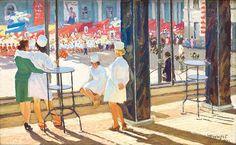 Гончаров Г.А. — Первое мая. : 1977 г Socialist Realism, Soviet Art, Russian Painting, Beautiful Paintings, Wwii, Comic Art, Auction, Watercolor, Retro