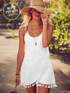 Can't go wrong with a LWD, especially at the beach. The fringe benefits are clear. ;) | Victoria's Secret Fringe Cover-up Dress