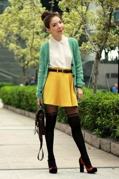 mustard skirt - white studded collar shirt - black tights