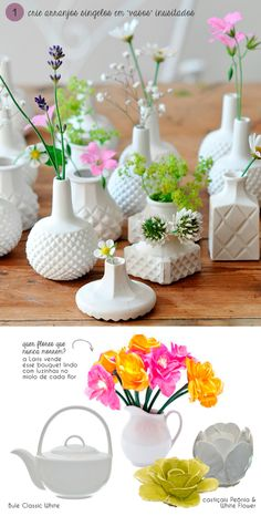 Small blooms in milk glass or white vases; I love milk glass! Low Wedding Centerpieces, Wedding Decor, Table Centerpieces, Centrepieces, Wildflower Centerpieces, Whimsical Wedding, Vases Decor, Elegant Wedding, Wedding Table