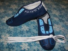 Doctor Who Tardis Shoes Size 8 womens FREE by CLouiseJohnR on Etsy, $30.00