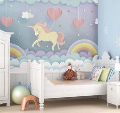 unicorn unicorns playroom nursery mural rainbow wallpapers believe dream