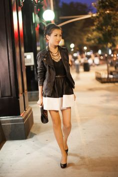Top :: Zara jacket (similar here & drool worthy one here), Splendid top  Bottom :: ASOS  Bag :: Chanel  Shoes :: Christian Louboutin (old) (similar here)  Accessories :: J.Crew belt (similar here),  necklace thanks to Stella & Dot!