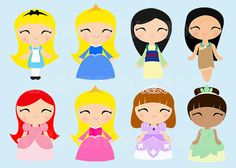 Instant Download 8 Princesses, Princess, Cute Kawaii Princess Digital Graphic, Clipart, Printable, cute fairy tale princess on Etsy, $8.00
