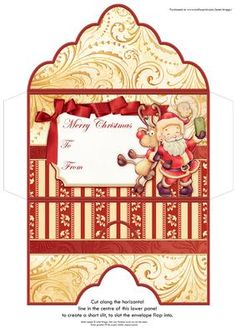 CHRISTMAS MONEY WALLET Santa Selfie on Craftsuprint designed by Janet Briggs - Christmas money wallet or gift voucher holder, featuring cute Santa. Coordinates with cup585353_68Sentiment tag on the front reads Merry Christmas and includes space for a To and From message. - Now available for download!