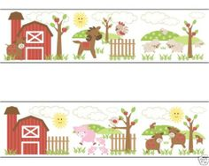 Barnyard Farm Animals Wallpaper Wall Border Decals for Baby Boy Nursery and Kids Stickers Room Decor #decampstudios