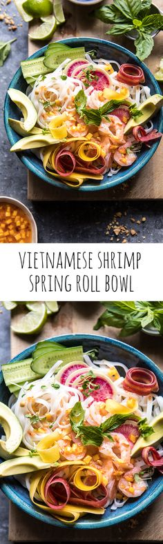 Vietnamese Shrimp Spring Roll Bowl With Sweet Chili Mango Sauce | halfbakedharvest.com #spring #summer #recipes #healthy #shrimp