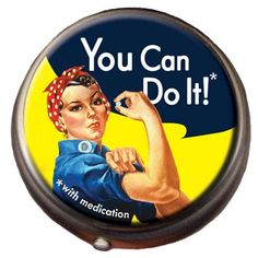 """This pill box is the perfect place to keep your vitamins, tiny mints, or whatever pick-me-ups give you the strength and determination you need to get the job done.  The Rosie the Riveter Pill Box is 2"""" in diameter and 5/8"""" tall with two compartments - one for the day and the other for the swing shift."""