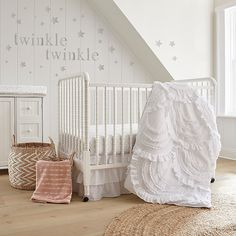 Levtexbaby Skylar Crib Bedding Set In Blush - Fill her nursery with the sweet patterns and fancy frills of the Skylar Crib Bedding Collection from Levtex Baby. The Crib Bedding Set includes everything you'll need for a beautifully coordinated look. White Crib Bedding, Baby Girl Crib Bedding, Girls Bedding Sets, Crib Sets, Baby Girl Cribs, White Crib Skirt, Baby Girls, Baby Bedroom, Kids Bedroom