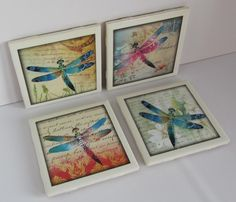 Ceramic tile coasters with colorful dragonflies on a background of vintage letters, Has cork backing. For hot or cold drinks. Wedding gifts. by ThePrimroseCottage on Etsy