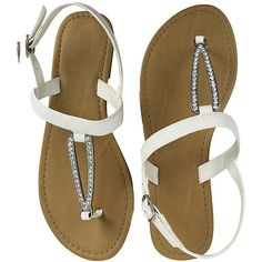 351f0741fc90 White Summer Sandals With Crystal Rhinestone Buckle ( 30) ❤ liked on  Polyvore featuring shoes
