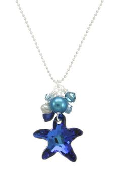 "Petite Swarovski crystal starfish necklace in your choice of colors, accented with Freshwater pearls and Swarovski crystals. It was handcrafted beside the Chesapeake Bay.    Choice of 16, 18, or 20"" Sterling silver beaded ball chain.    Swarovski Starfish Necklace by Moonrise Jewelry. Accessories - Jewelry - Necklaces Virginia"