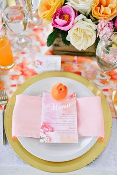 citrus-inspired menu by Legacy Loft Stationery Boutique / photo by mollinerphotography.com