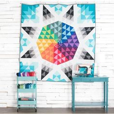 Solar Flare Quilt Kit by Craftsy.  Bold solid quilt using Boundless solids fabrics.  Modern star quilt.  affiliate link.