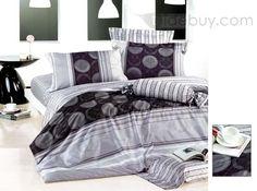 Classic Striped White Cotton Printing 4 Piece Bedding Set
