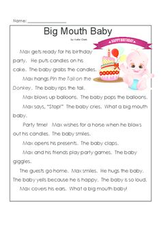 A story about a big mouthed baby that gets first graders reading! The related worksheets are great for preparing children for tests, as they have matching, multiple choice, and short answer.   Read more at http://kidspressmagazine.com/reading-comprehension-grade-1/worksheets/misc/reading-comprehension-baby-2.html#RfyedyBrz7AZF7sj.99  #comprehension, #grade1, #printable, #reading