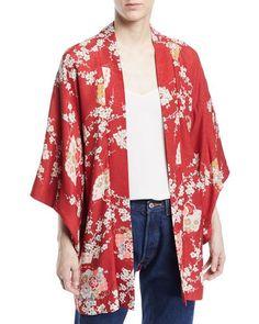 Elizabeth and James Vintage One-of-a-Kind Kimono Chinese Kimono, Kimono Pattern, Inspiration Mode, Vintage Kimono, Kimono Jacket, Wrap Sweater, Johnny Was, Elizabeth And James, Mixing Prints