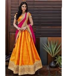 Buy Orange printed bhagalpuri unstitched lehenga choli lehenga-choli online