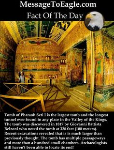 Ancient History Facts: Tomb Of Pharaoh Seti I Is The Largest Tomb In The Valley Of The Kings