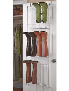 Organize and protect your expensive boots. Over-the-door boot hanger instantly hangs from the door. No installation. Use in any room. Holds 6 pairs of knee-high boots. Boot Organization, Organizing, Boot Storage, Shoe Holders, Wardrobe Rack, Shoe Rack, Hanger, House Design, Doors