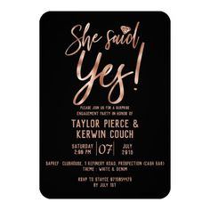 Shop Rose Gold She Said Yes Engagement Party Invite created by GraphicBrat.
