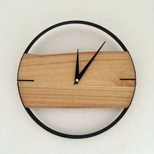 Naturel horloge murale brève horloge murale en bois de style en bois décor grand rond unique horloge 12 polegada numérique horloge pour salon(China (Mainland))