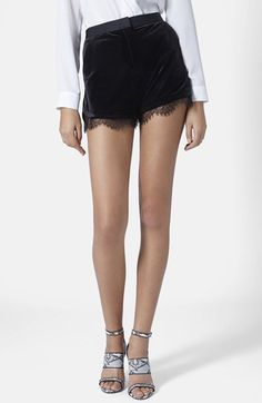 Topshop Lace Trim Velvet Shorts available at #Nordstrom