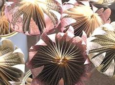 Paper flower from folded book freshly found: Tickled. Folded Paper Flowers, How To Make Paper Flowers, Giant Paper Flowers, Faux Flowers, Book Folding, Paper Folding, Diy Paper, Paper Art, Book Page Crafts