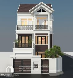 Exterior House Projects of Komnit Rachna is a Khmer Company in Phnom Penh Cambodia. Modern Brick House, Brick House Designs, Latest House Designs, Modern House Plans, Modern Architecture House, Architectural Design House Plans, Architecture Design, Tiny Houses Plans With Loft, Street House