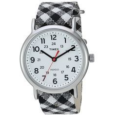 Timex Weekender Nylon Slip-Thru Strap (Black Gingham/White) Watches (90 BAM) ❤ liked on Polyvore featuring jewelry, watches, white wrist watch, white jewelry, leather-strap watches, timex and white strap watches