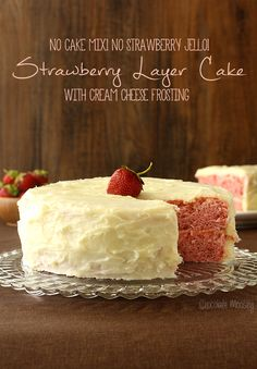 This two layer strawberry cake is made all from scratch – no cake mix, no strawberry Jello. And of course you can't forget the homemade cream cheese frosting!!