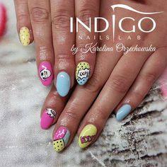 by Karolina Orzechowska, Follow us on Pinterest. Find more inspiration at www.indigo-nails.com #nailart #nails #indigo #pastel #cartoon