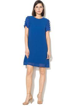 Rochie evazata scurta cu detalii florale pe maneci Yumi (YM775-BLUE) | Fashion Days